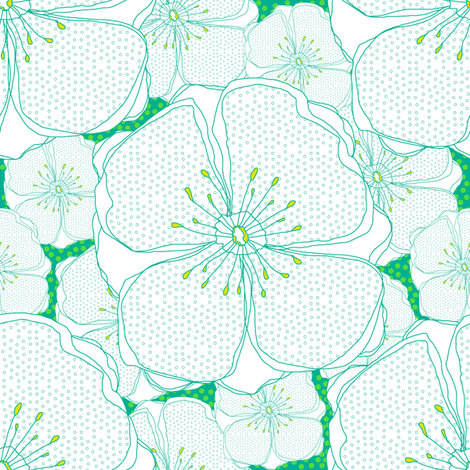 Green Fresh Flowers fabric by sandeehjorth on Spoonflower - custom fabric