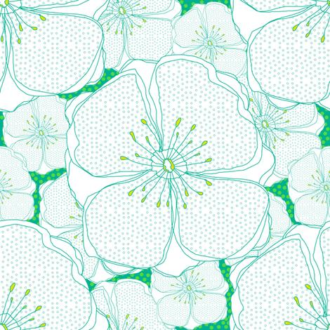 Green Fresh Flowers fabric by sandeehjorth on Spoonflower - custom fabric