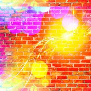 Sun Graffiti on  Neon Brick