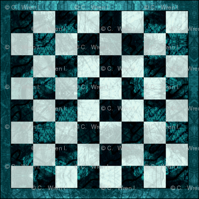 Chess Board Marbled Teal