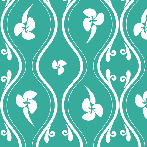 Tropical_Lattice_TEAL fabric by designerodriguez on Spoonflower - custom fabric