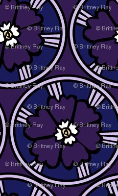 Round Floral Purple
