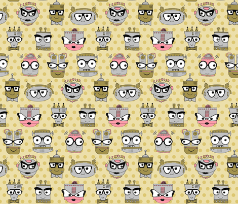 Geeky Chic Eye Glasses (Even Robots Love Them!) - Yellow fabric by dianef on Spoonflower - custom fabric