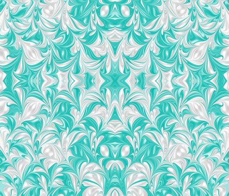 Aqua-PSwirl fabric by modernmarblingdesign on Spoonflower - custom fabric