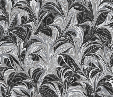 Metallic-SilverBlack-Swirl fabric by modernmarblingdesign on Spoonflower - custom fabric