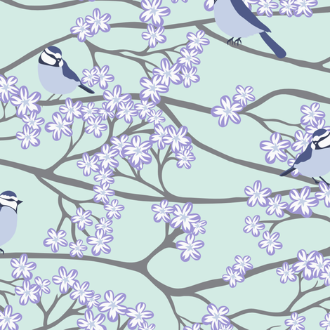 bluetits_and_blossoms2_custom_rita3 fabric by kezia on Spoonflower - custom fabric