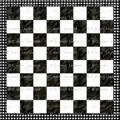 """Chess Board Houndstooth B&W 12"""""""