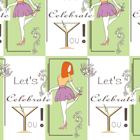 Happy Birthday Martini Girl!  fabric by joojoostrees on Spoonflower - custom fabric