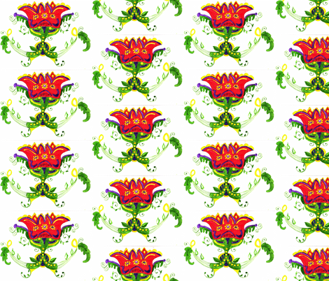 Dutch Folk Art flower fabric by tracy_hines_studio on Spoonflower - custom fabric