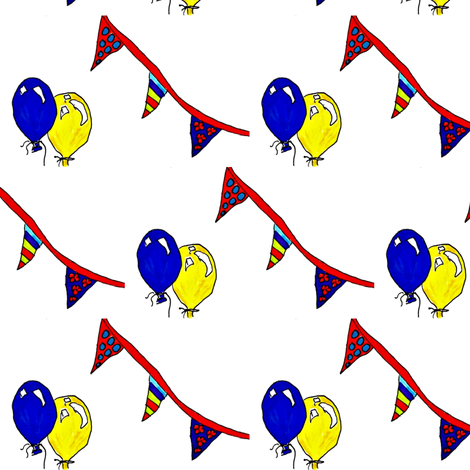 Banners and balloons fabric by tracy_hines_studio on Spoonflower - custom fabric