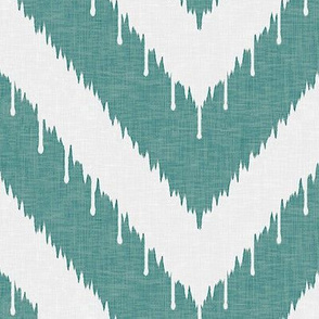 Teal Beaded Chevron Ikat