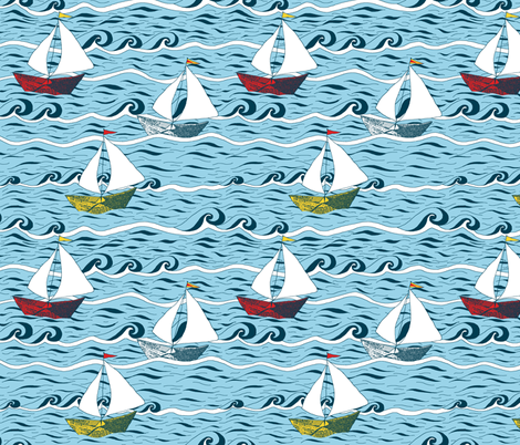 Newspaper Boat - Sailing fabric by martaharvey on Spoonflower - custom fabric