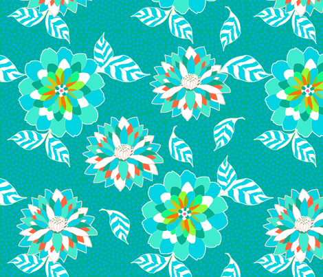 Emerald Green Flower Fireworks fabric by sandeehjorth on Spoonflower - custom fabric