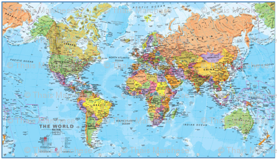 World Map Fabric Blue