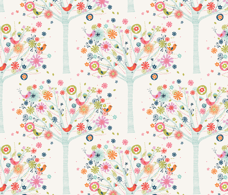 pretty tree pattern fabric by bethan_janine on Spoonflower - custom fabric