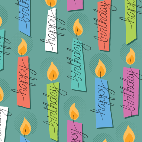 Happy Birthday Candles fabric by wrkdesigns on Spoonflower - custom fabric