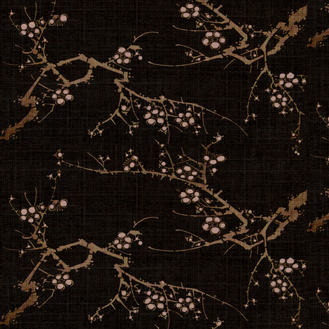 Cherry blossom time - espresso, brown, pink fabric by materialsgirl on Spoonflower - custom fabric