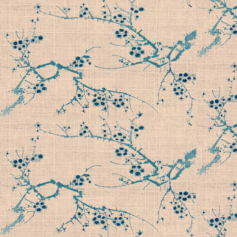 cherry blossom time - blue ink, pink fabric by materialsgirl on Spoonflower - custom fabric
