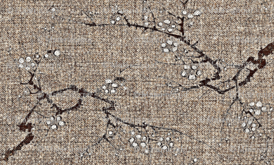 Cherry blossom time - earth tones - brown, wheat, charcoal, white