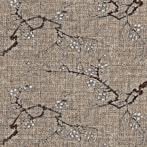 Cherry blossom time - earth tones - brown, wheat, charcoal, white fabric by materialsgirl on Spoonflower - custom fabric