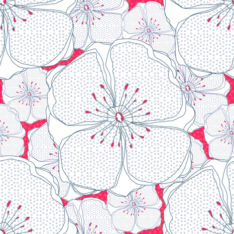 Pink Fresh flowers fabric by sandeehjorth on Spoonflower - custom fabric
