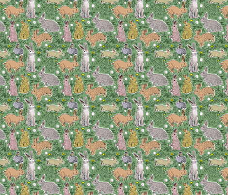 Rabbits and Dandelions fabric by vinpauld on Spoonflower - custom fabric