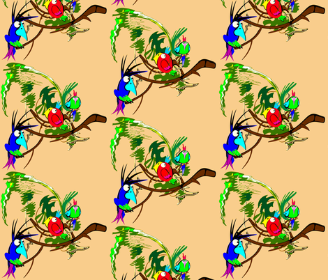 Parrots fabric by retroretro on Spoonflower - custom fabric