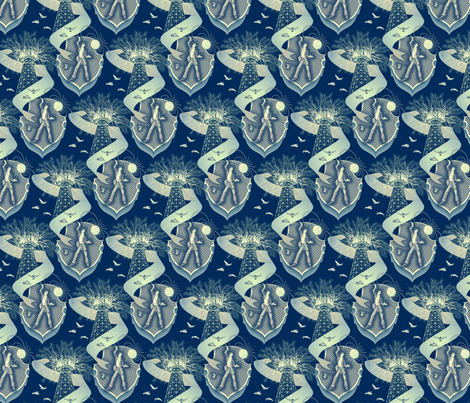 Tesla's Wardenclyffe Tower fabric by artgarage on Spoonflower - custom fabric