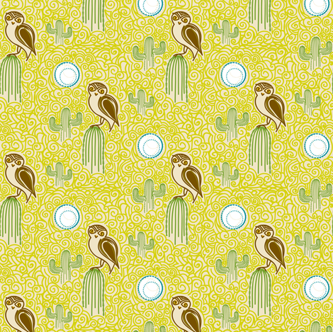 Desert Owl Mini fabric by simboko on Spoonflower - custom fabric