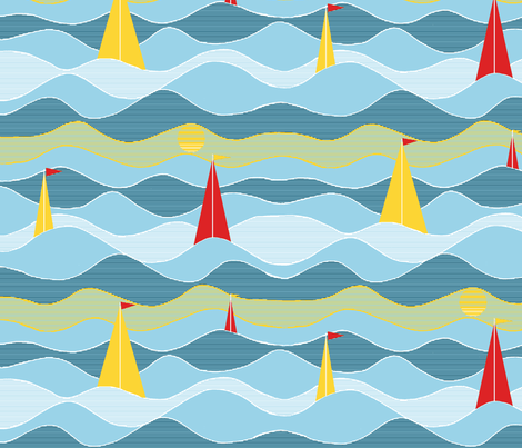 Sailing under the sun fabric by wiccked on Spoonflower - custom fabric