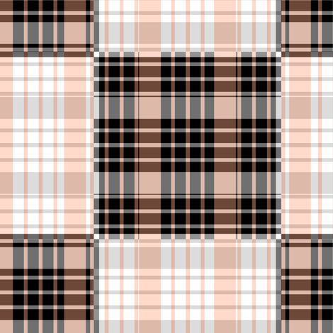 Peach and Gray Plaid - Large fabric by telden on Spoonflower - custom fabric