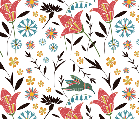 Hummingbird Floral fabric by anna_ducos on Spoonflower - custom fabric