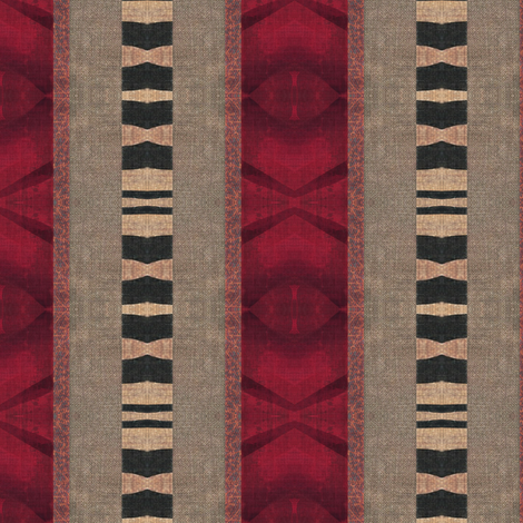 Safari Sari stripe - red, beige, black fabric by materialsgirl on Spoonflower - custom fabric