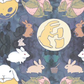 rabbits on the moon making mochi
