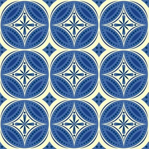 Moroccan Tiles - blue-violet and cream