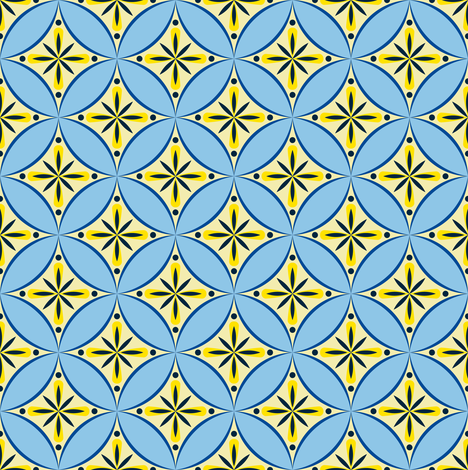 Moroccan Tile 2 - blue-yellow2 fabric by shannonmac on Spoonflower - custom fabric
