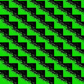 zig zag in green and  black