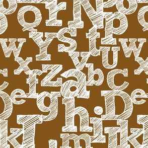 Sketched Alphabet on Brown