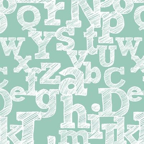 Sketched Alphabet on Teal