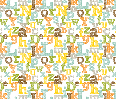 Colorful Sketched Alphabet fabric by jennifercolucci on Spoonflower - custom fabric