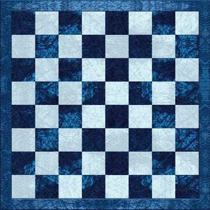 Blue Checker Chess Board
