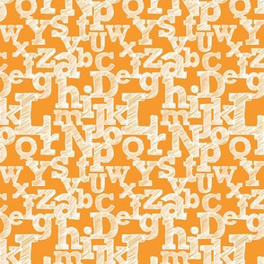 Small Sketched Alphabet on Orange