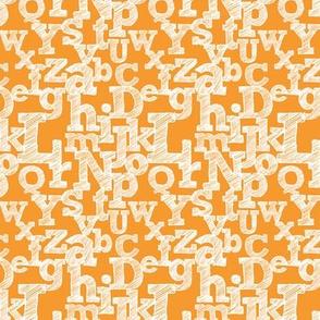 Small Sketched Alphabet on Orange