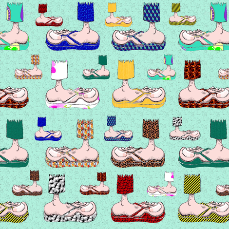 Feet with their BFF's ~ Flip-Flops! (mint) fabric by amy_g on Spoonflower - custom fabric