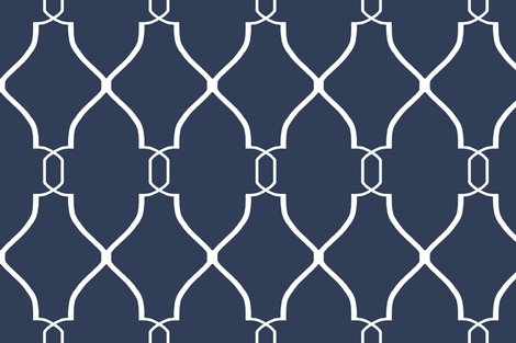 Navy Laura Trellis fabric by sparrowsong on Spoonflower - custom fabric