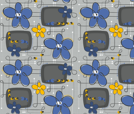 Techno Floral fabric by jennifer_clarke_designs on Spoonflower - custom fabric