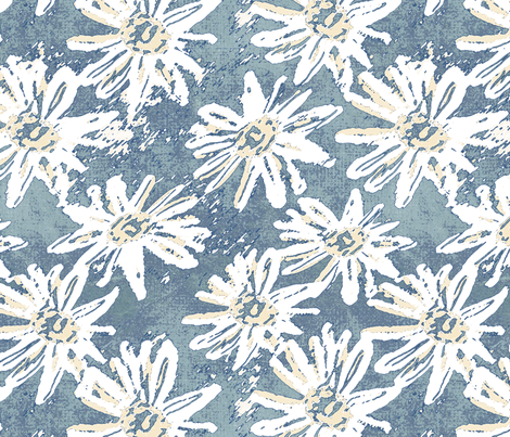 Daisy Wash - Teal fabric by kristopherk on Spoonflower - custom fabric