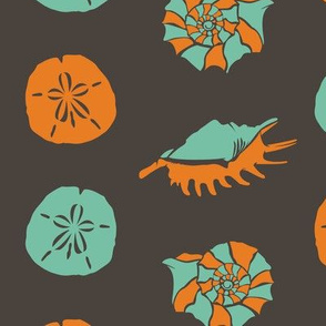 Orange and Dark Blue Sand Dollars and Seashells