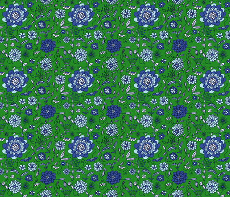 Crown_FLowers_Green fabric by evelynrosedesigns on Spoonflower - custom fabric
