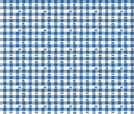 Space Invaders gingham fabric by sammyb on Spoonflower - custom fabric